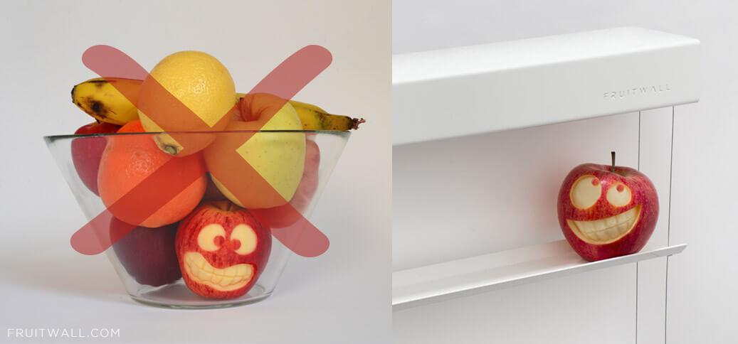 FRUITWALLel frutero de cocina noderno que deja que tu fruta respire y se mantenga mejor