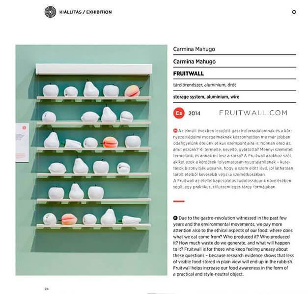 Fruteros de diseño FRUITWALL seleccionado y expuesto en la Design Week Budapest 2015