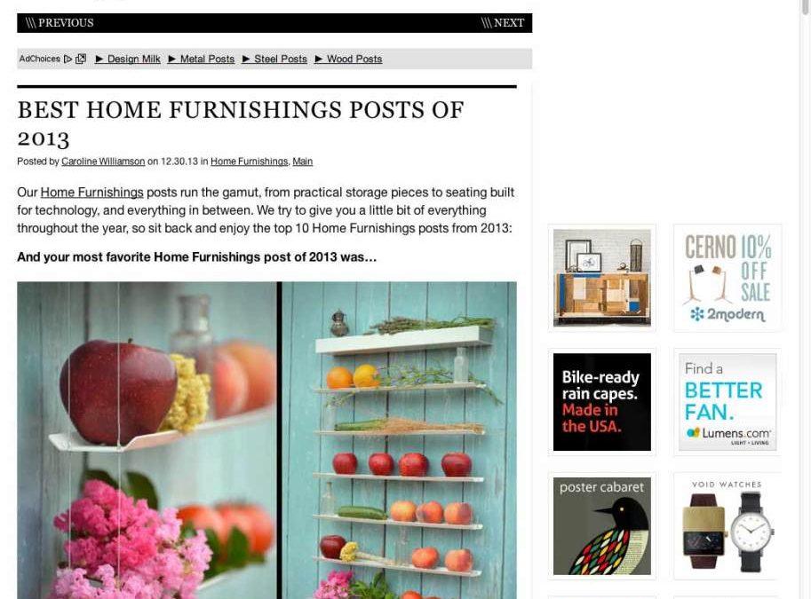 FRUIWWALL seleccionado por design-milk.com como número 1 entre los 10 mejores muebles para el hogar diseñados en 2013